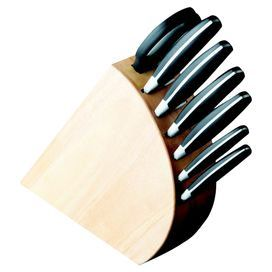 """7-Piece stainless carbon steel knife set with kitchen shears and a curved storage block.  Product: Knife block Kitchen shears Bread knife Carving knife Paring knife Santoku knifeAll-purpose knife Utility knifeConstruction Material: High quality stainless steel and woodColor: Black and blondeFeatures: Includes bread knife, carving knife, kitchen shears, paring knife, Santoku knife and utility knifeDimensions: 13.25"""" H x 2.75"""" W x 9.5"""" D (overall)Cleaning and Care: Hand wash in warm …"""