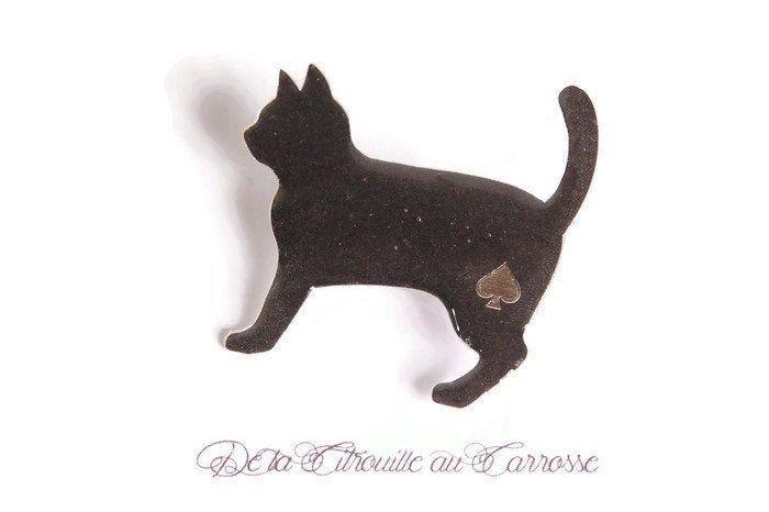 Chat Noir Black Cat Pin Handmade Brooch