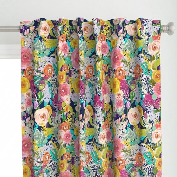 Bright Flowers Pink Yellow Blue Curtain Valance