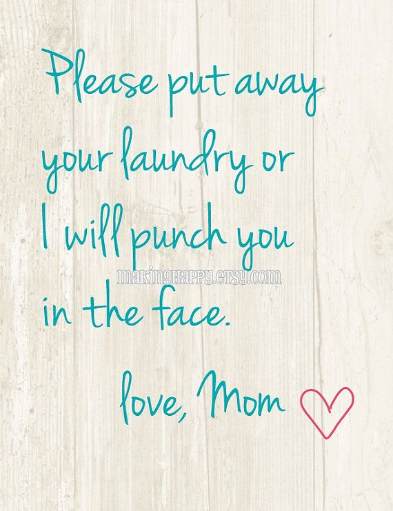 Please Put Away Your Laundry Humorous 8x10 Art by MakingHappy, $9.00