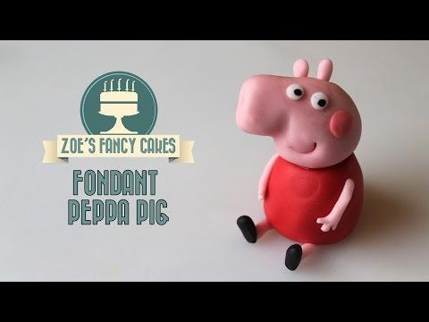 How to make Peppa Pig in fondant cake topper How To Tutorial Zoes Fancy Cakes - YouTube