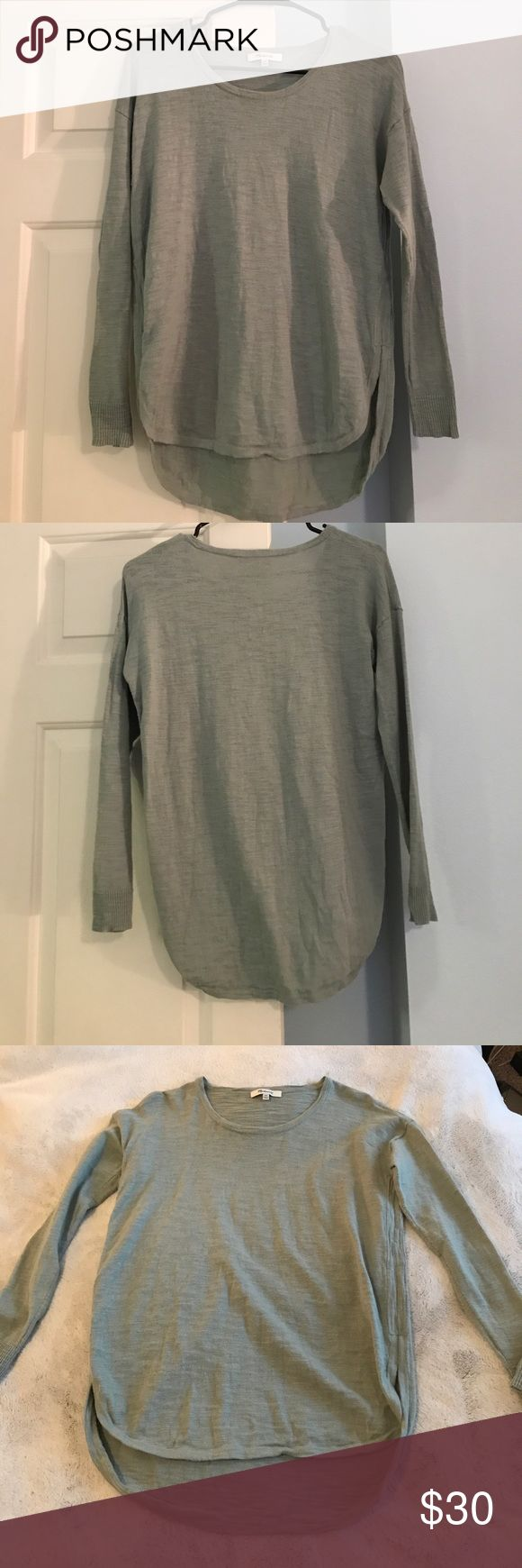 Madewell Moss Green High Low Sweater Madewell high low shirt. Gorgeous moss, light green color. Thicker material—contents tag is removed because tags suck. Size XXS. Good worn condition—no imperfections, just in need of a good steam. Sleeves are a little tight and short of wrists, but it wasn't a big deal. Madewell Tops