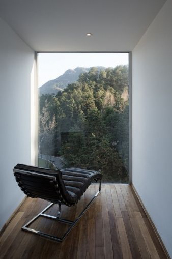 Even the smallest room in the home has spectacular views of the forest