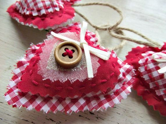Red Gingham Christmas Decorations Hanging Hearts