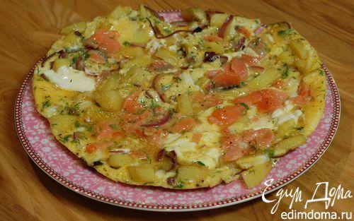 Испанский омлет с копченым лососем  | Кулинарные рецепты от «Едим дома!»