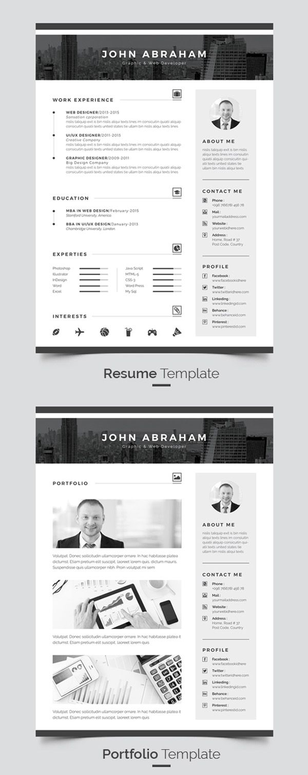 Best Cv  Images On   Cv Template Resume And