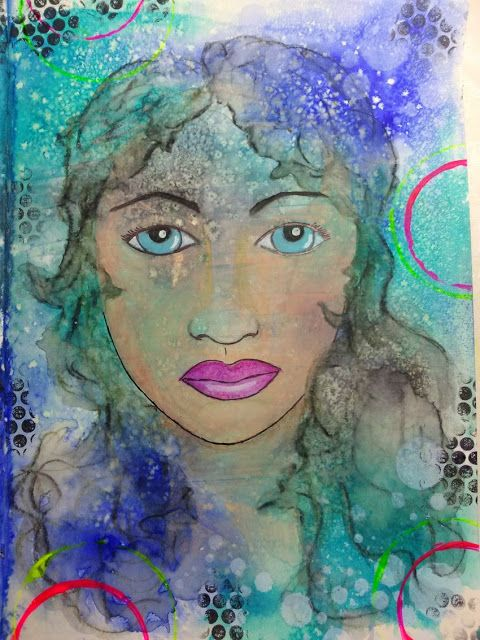 My first face using neo colors II and dylusion spray background...