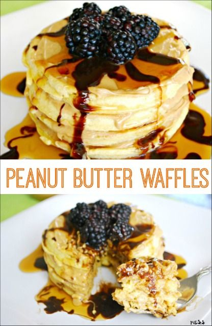 This breakfast idea is perfect for a special occasion or any day. Peanut Butter Waffles are amazing and easy to make! #ad #peanutbutterhappy