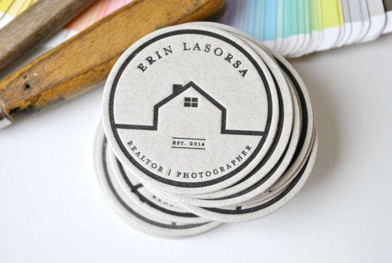 200 Custom round letterpress calling cards by FunkyPrintStudio