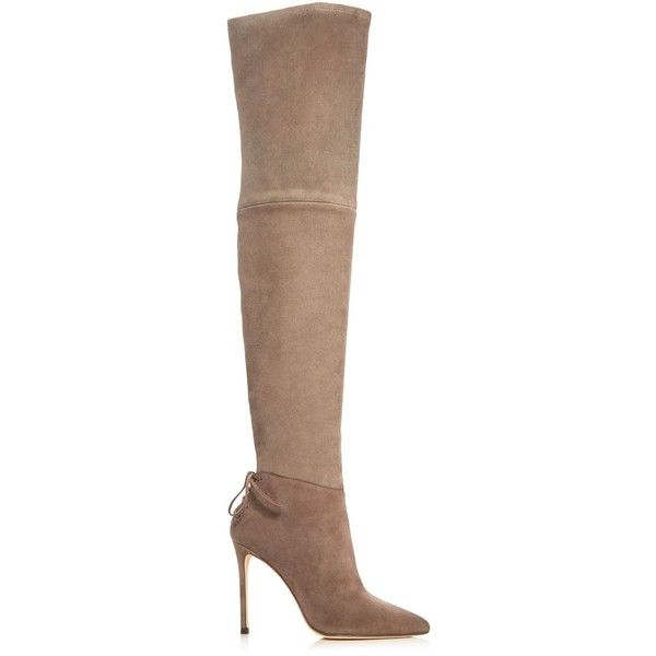 Pour La Victoire Caterina Over The Knee High Heel Boots ($625) ❤ liked on Polyvore featuring shoes, boots, heels, taupe, over-knee boots, suede boots, thigh high boots, over the knee suede boots and taupe suede boots
