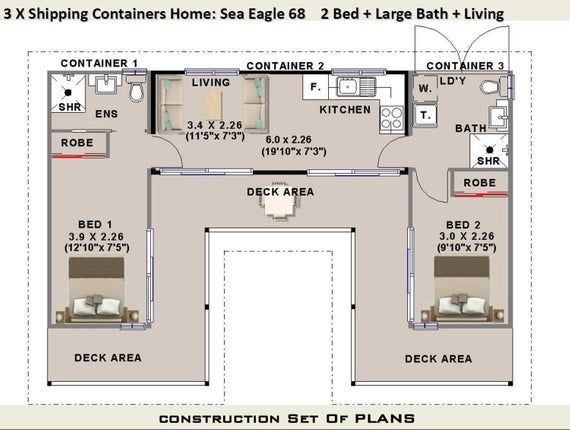 3 X Shipping Containers 2 Bedroom Home Full Construction Etsy Shipping Container House Plans Container House Plans Container House