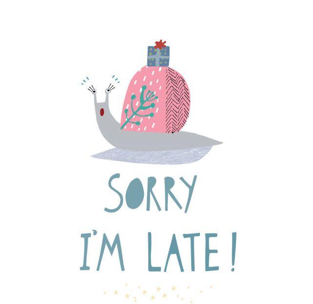 'Sorry I'm Late' Square card £2.50
