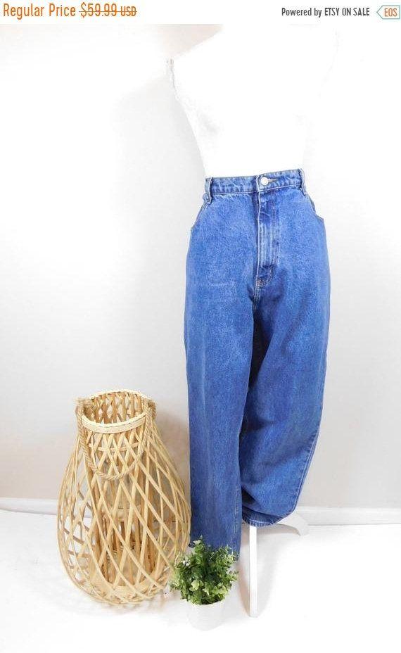 Vintage Faded Blue Denim High Waisted Mom Jeans
