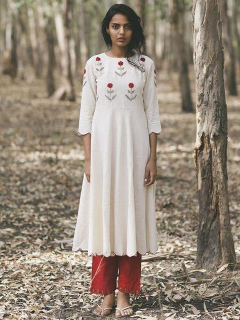 Ivory Red Mogra Scalloped Khadi Kurta and Pants - Set of 2