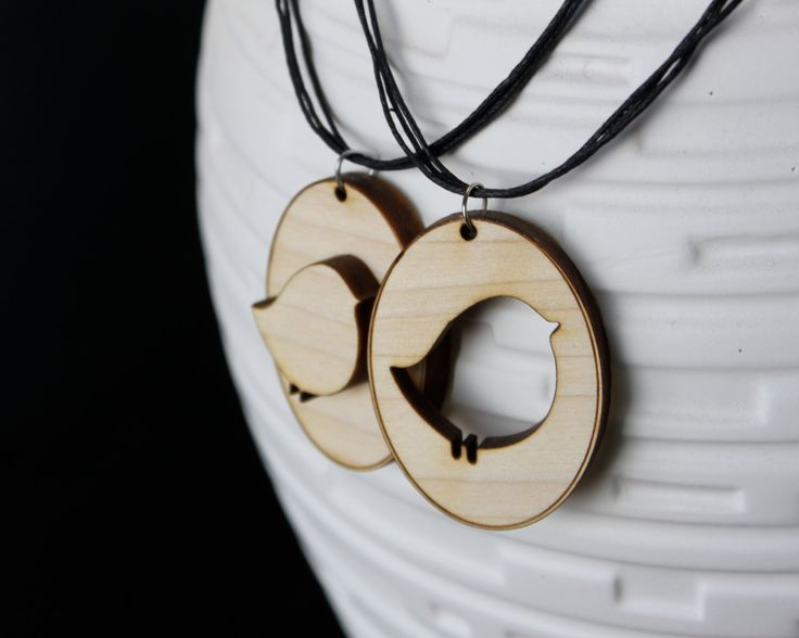 """New to JDBmercantile on Etsy: 2 """"Birds of a Feather"""" Wood Laser-Cut Best Friend Necklaces [BF-103] (20.00 USD)"""