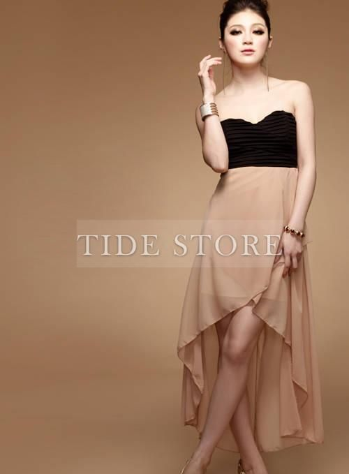 Irregular Split Joint Backless Pleated Dress : tidestore.com