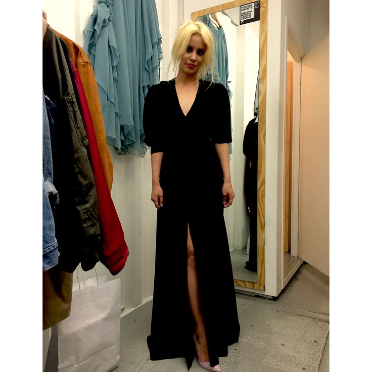 We had a visit from lovely #BillieJDPorter today . Wearing our 1970's #OssieClark wrap around dress