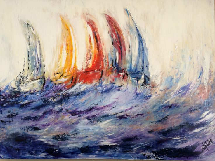 """""""Sail boats"""". Acrylic on canvas. By Sara Cuthbert. Impressionism."""