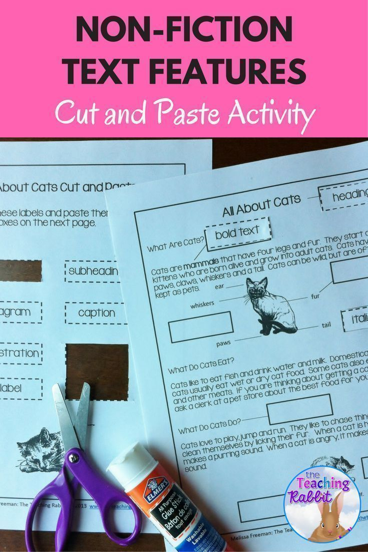 Students cut out labels of text features and paste them in the boxes on the articles. This is a great hands-on way to help students identify non-fiction text features!