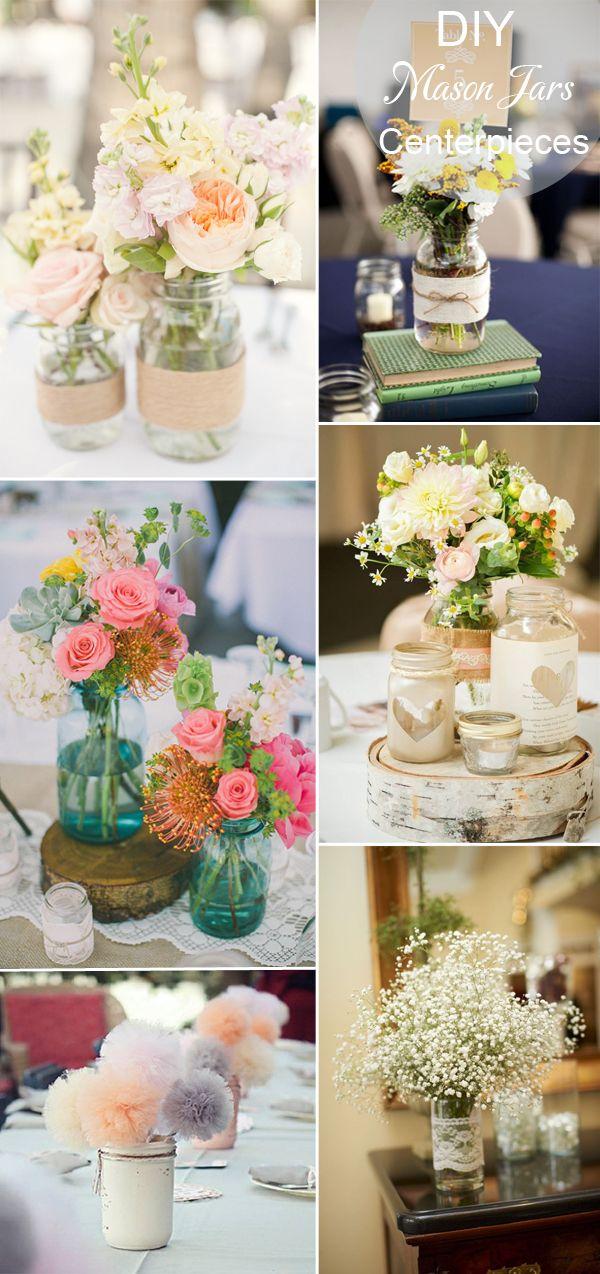 DIY rustic wedding ideas - mason jars wedding table setting and centerpieces