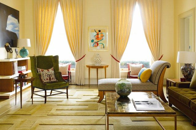 See all our stylish living room design ideas. Including this soft, yellow living room full of antiques by Hugh Leslie.