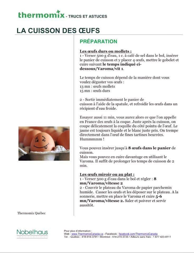 Cuisson des oeufs | Astuces thermomix | Pinterest