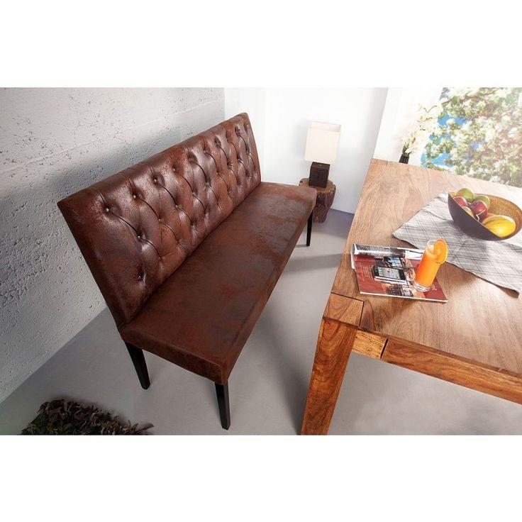 Moderne zitbank oxford 165cm antiek bruin - 35275