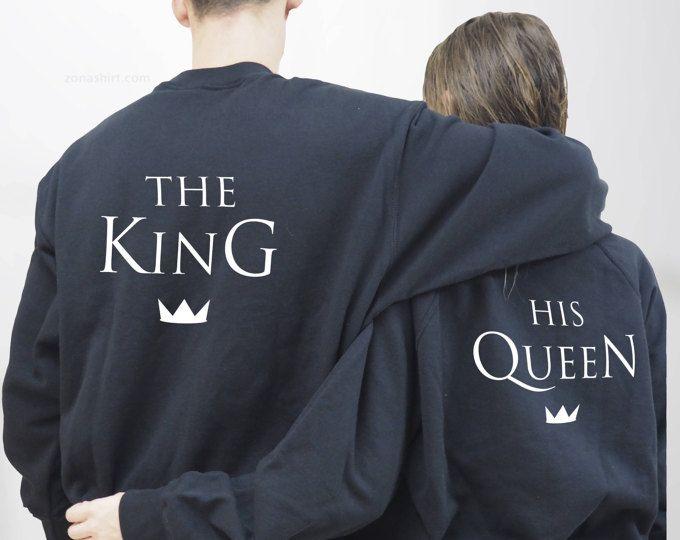 Sudadera, Set de 2 sudaderas personalizadas, para parejas, The King His Queen, unisex, Sudadera King, Sudadera Queen