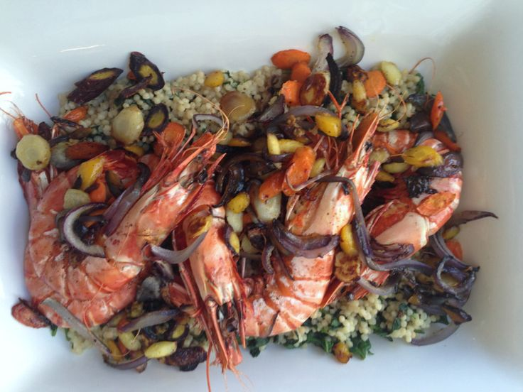 Colossal Shrimp with Israeli Couscous.  A showstopper of a meal, for a special occasion (but really easy to make!).  From www.themom100.com.
