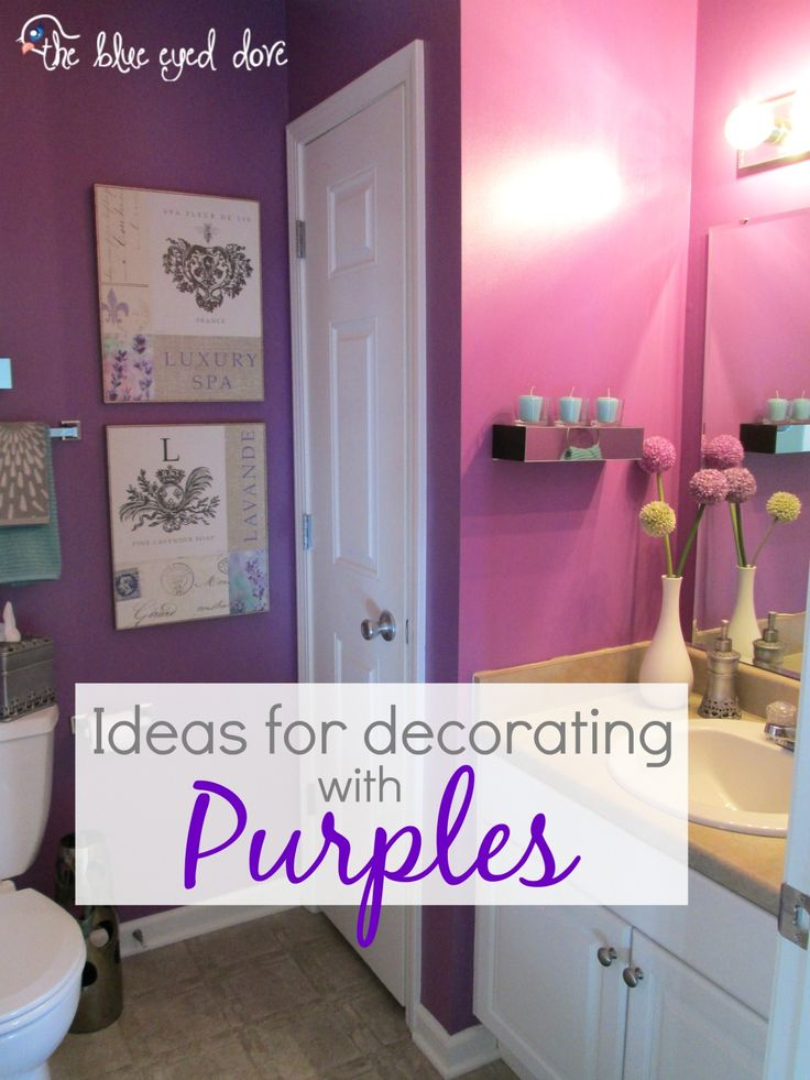 Home tour purple home and dream bathrooms for Purple and white bathroom accessories