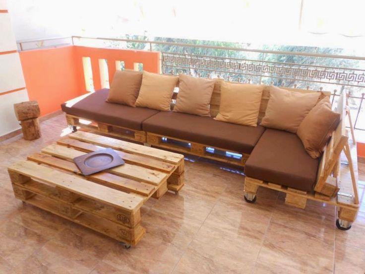Sofá e mesa de centro feita com palete - DIY Pallet Sofa and coffee table
