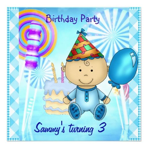 Child's Boy 3rd Birthday Blue Lollipops