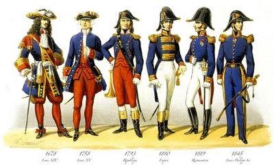 Officiers de marine  de gauche à droite : officier de marine de Louis XIV, gentilhomme garde du pavillon amiral (Louis XV), officier de marine de la République (1793), capitaine de vaisseau de l'Empire (1810), officier de marine de la Restauration (1819) et capitaine de vaisseau sous Louis-Philippe Ier (1845)
