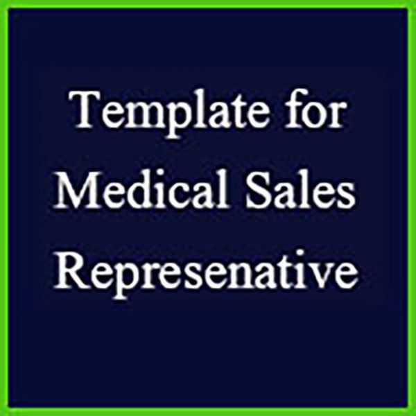 Resume template for pharmaceutical and medical device sales representatives.  The template was designed by a resume writer who focuses on medical sales professionals. The template outlines everything you need to create a top notch medical sales resume, including laying out your jobs, sales accomplishments and education. Just fill in the questions with your own information. The template comes with directions on how to customize the template with your experience and background, a completed sample