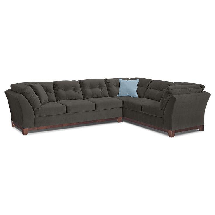 black leather living room furniture sets%0A Living Room Furniture  Solace Gray II   Pc  Sectional  Reverse