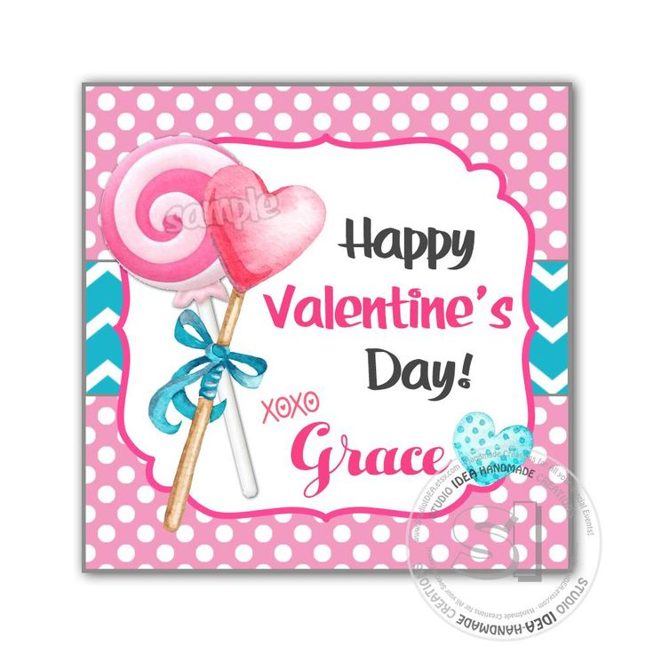"""Valentine's day Custom Printable Tags- 2.5"""" Tags-Happy Valentine's Day Personalized 2.5 inches Tags- Stickers DIY Favor Tags-Heart Lollipops Sweet Valentine's tag"""
