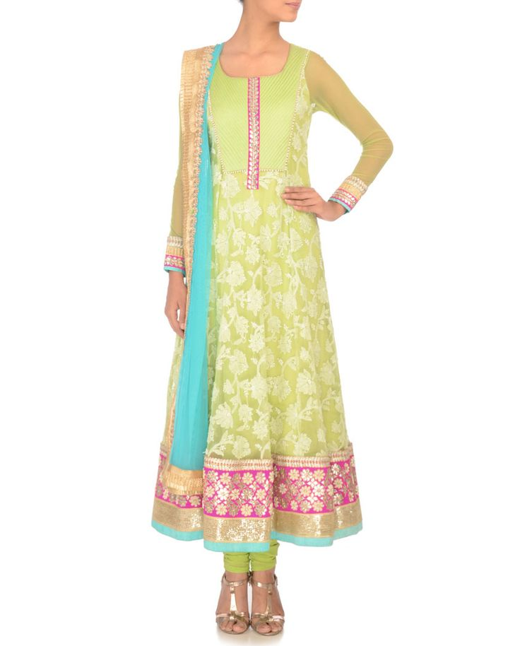 Pista Green Anarkali Suit with Embroidery