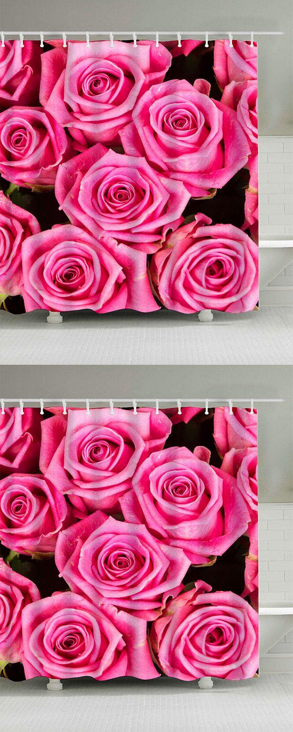 Grayson silver gray jacquard fabric cloth bathroom bath shower curtain - Roses Print Shower Curtain