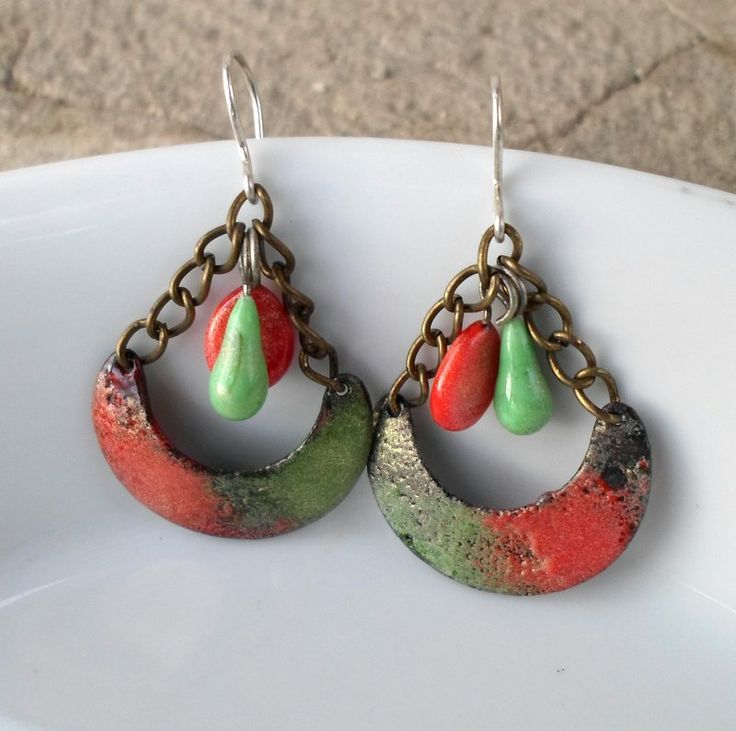 A pair of handmade rustic enamel earrings for her on Valentine's Day...