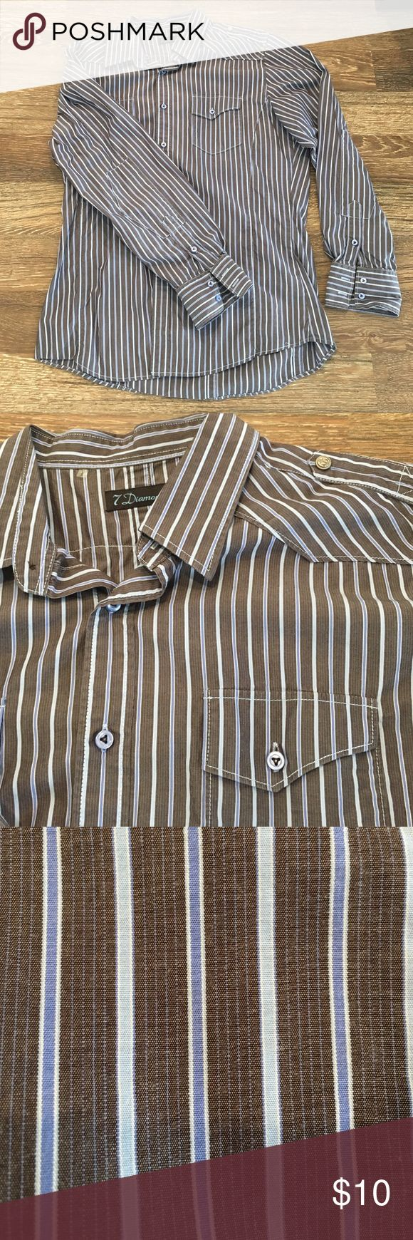 7 Diamonds Mens Stripe Button Up Shirt 7 Diamonds Mens Stripe Button Up Shirt - Athletic Fit - Military Shoulder - Like new condition - Only worn 2 times. 7 Diamonds Shirts Casual Button Down Shirts