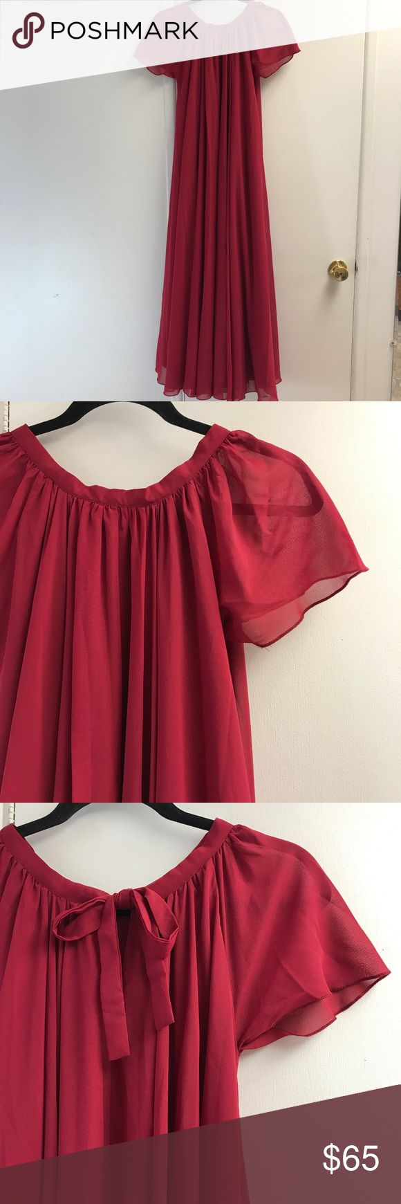 """Red/Wine/Burgundy Chiffon Petite Bridesmaid Dress Dress worn in my sister in law's wedding, purchased from Etsy. I am 5'1"""", for length reference. Fits an XS, XSP, S, or SP. Very very full and flowy, tie in the back. Like new, no flaws. Comes with three different belt options. Etsy Dresses Wedding"""