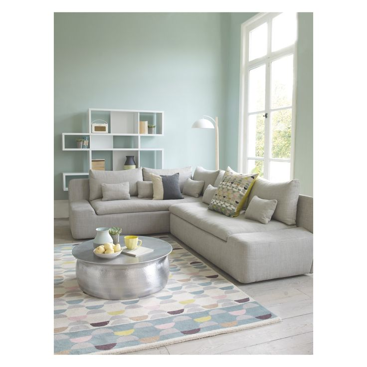 KASHA Light grey textured fabric 2 seater right-arm sofa