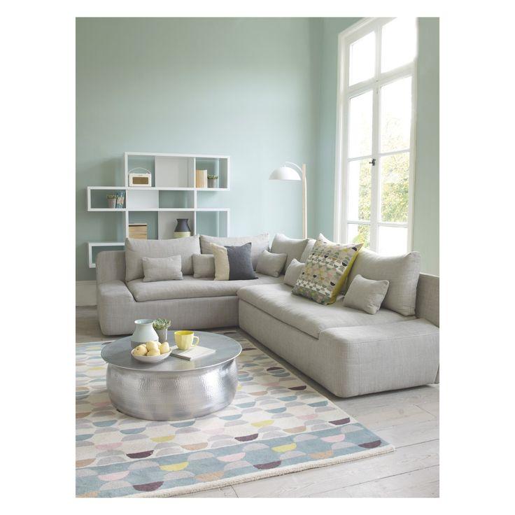 KASHA Light grey textured fabric 2 seater right-arm sofa