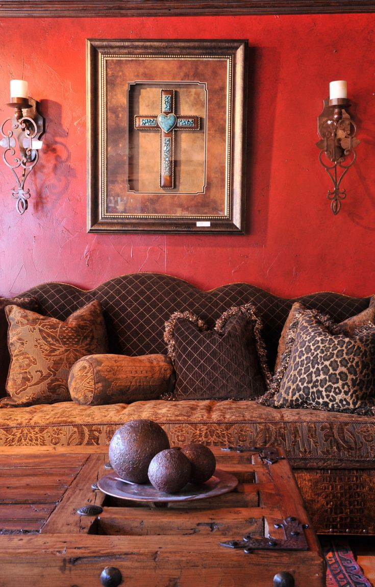 Stunning Western Decor My Style Pinterest Glazed Walls Red Walls And Western Homes