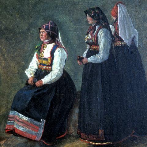 """Bunad fra Tinn i Telemark. """"Drakter fra Tinn""""  Maleri av Thomas Fearnley."""