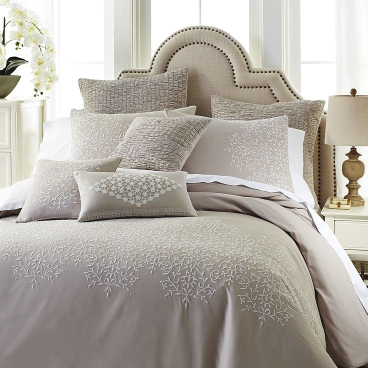 Gray Embroidered Comforter : Gray lace embroidered duvet cover sham dove cotton