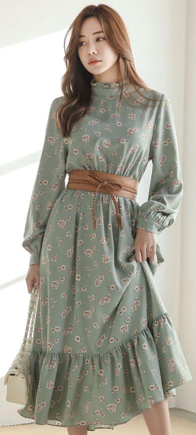 Romantic Floral Print Frill Maxi Dress