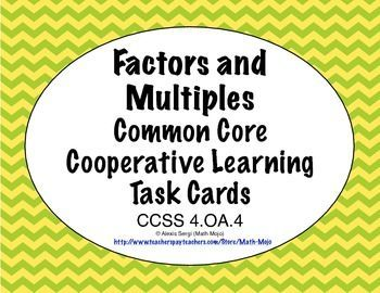 Common Core Math Task Cards - Factors and Multiples CCSS 4.OA.4 Self checking task cards available for each 3 rd and 4th grade math Common Core Standard! Yes please! $