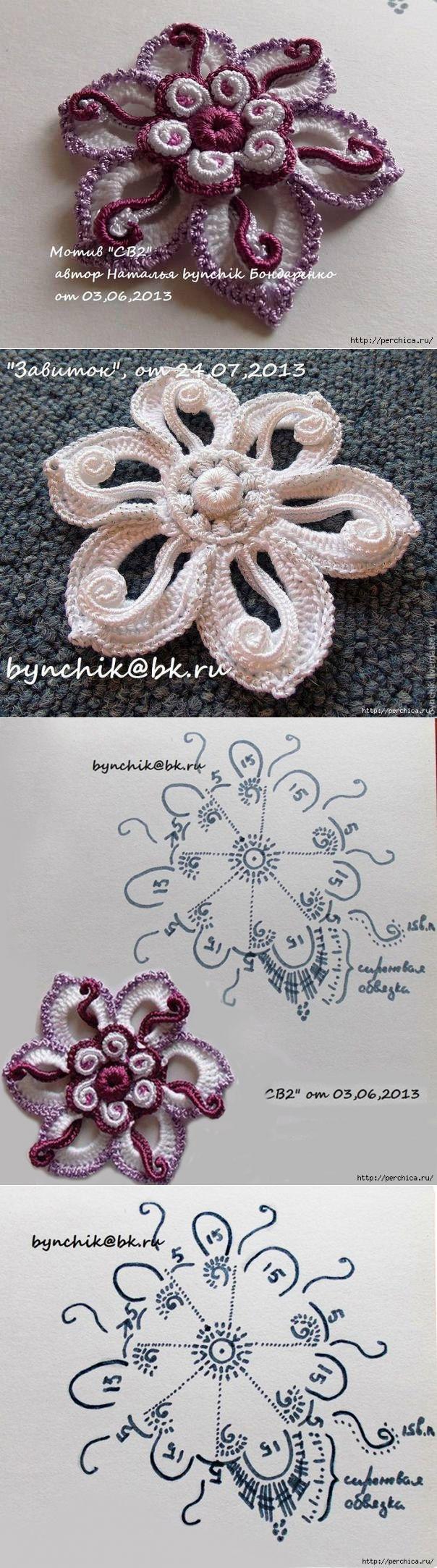 Цветы и листья с завитками - Мк от Наташи Бондаренко | Вязание крючком | Постила