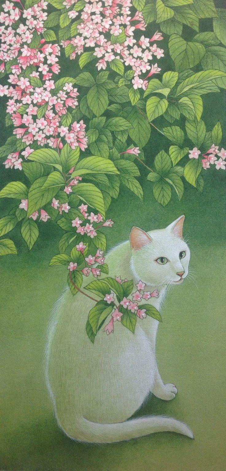 谷空木と白猫 by Chiemi Amano